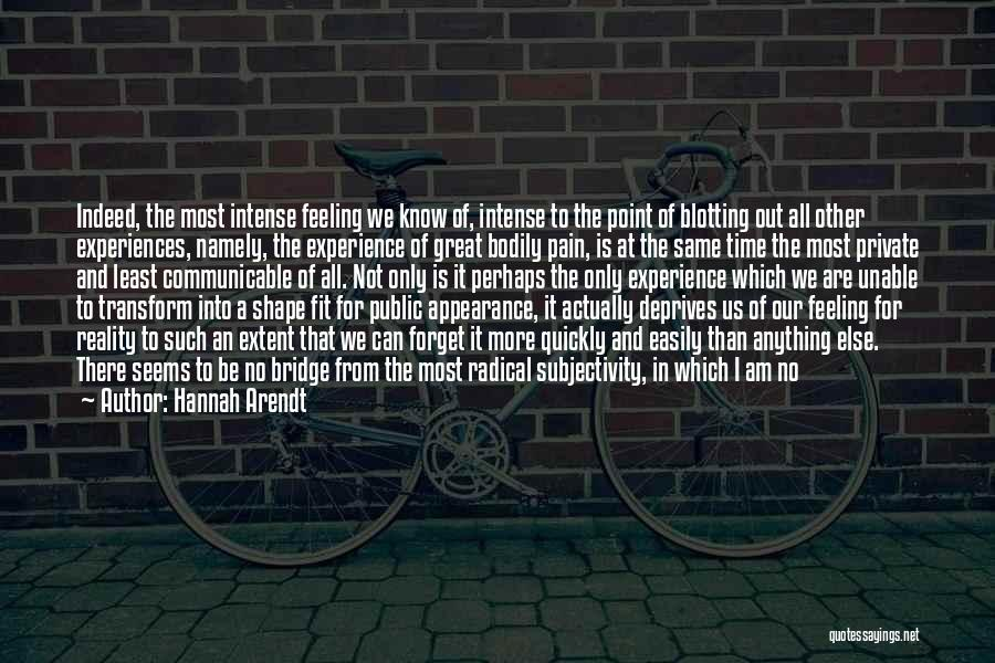 Subjectivity Of Reality Quotes By Hannah Arendt
