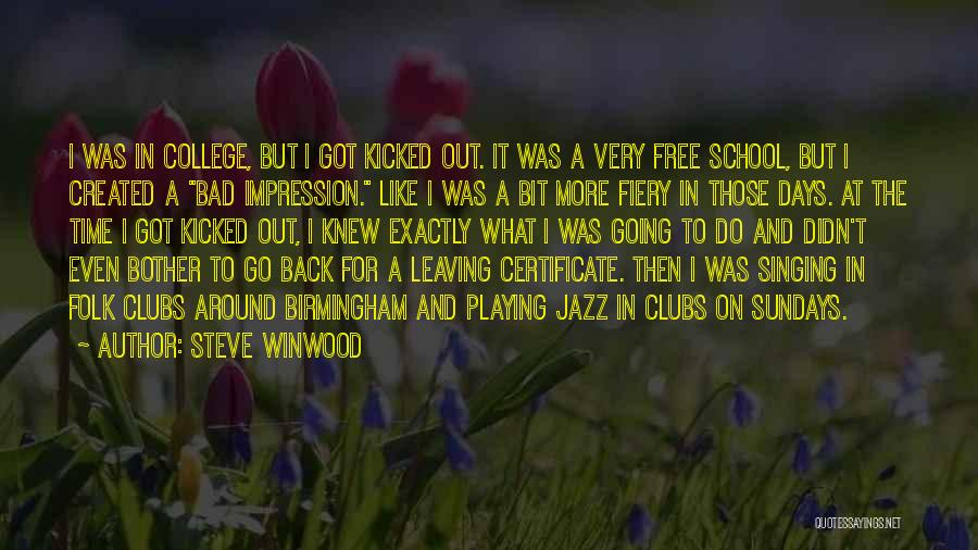 Sunday School Quotes By Steve Winwood
