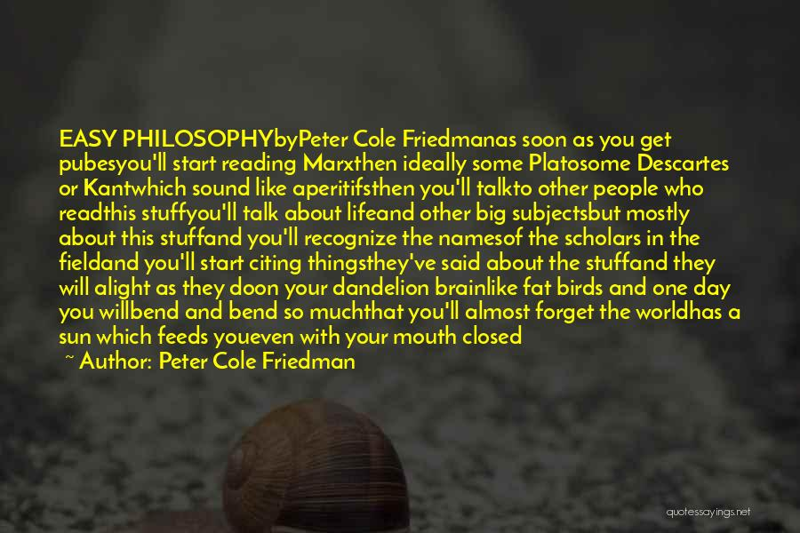 Talk Soon Quotes By Peter Cole Friedman