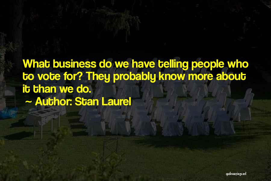 Telling All Your Business Quotes By Stan Laurel