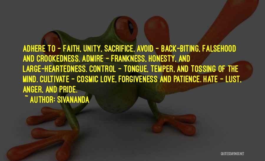 Temper And Anger Quotes By Sivananda