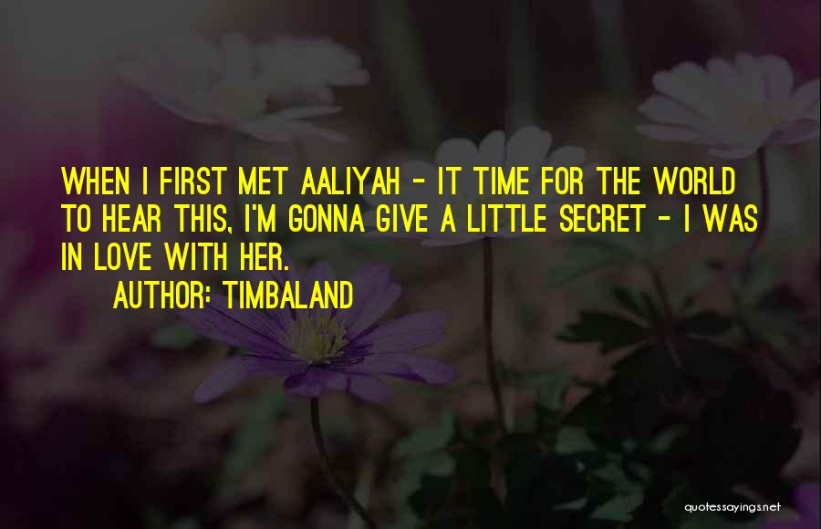 The First Time We Met Love Quotes By Timbaland