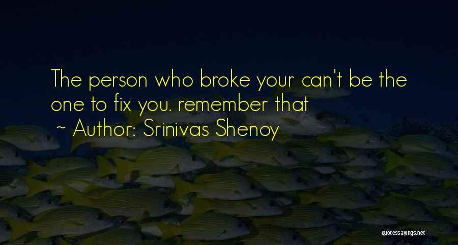 The One Who Broke Your Heart Quotes By Srinivas Shenoy