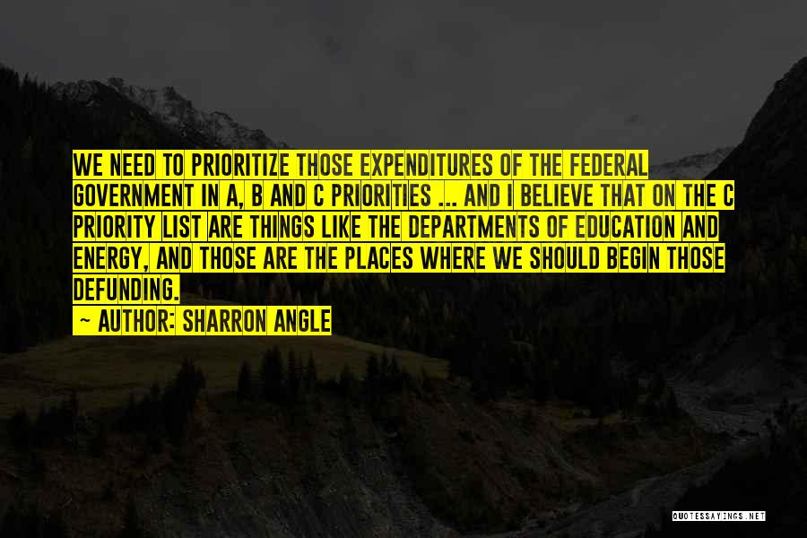 The Priority List Quotes By Sharron Angle