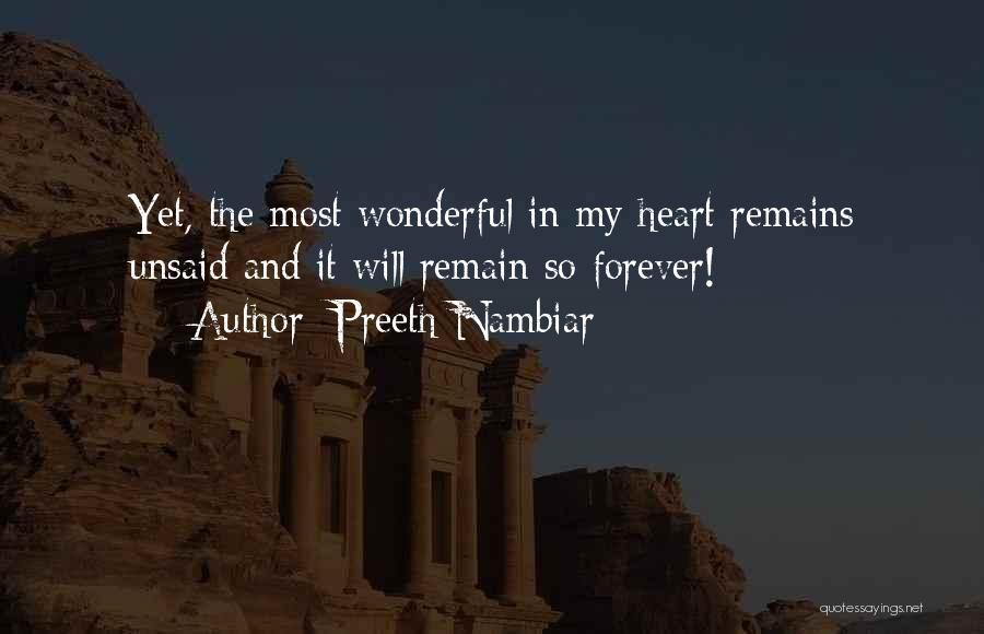 The Unsaid Words Quotes By Preeth Nambiar