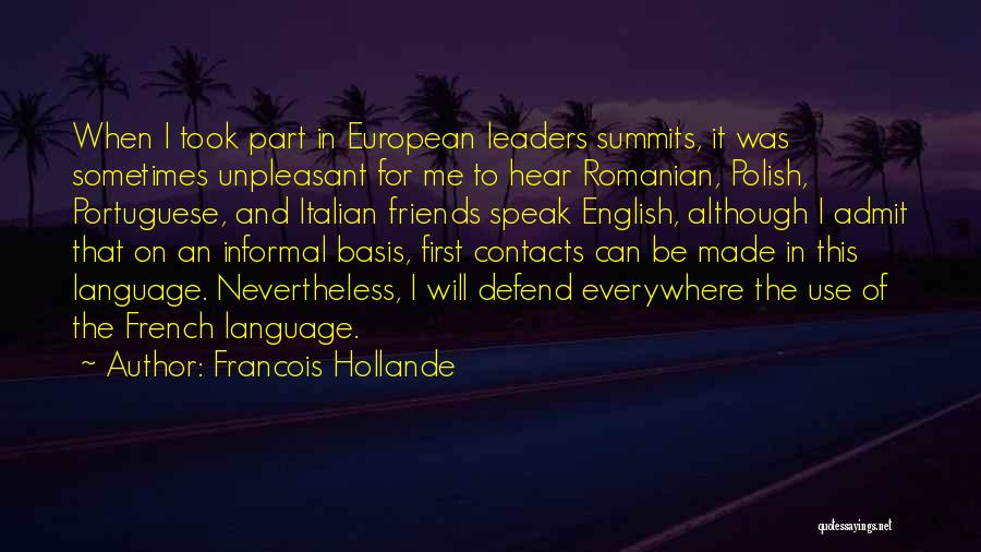 The Use Of English Language Quotes By Francois Hollande