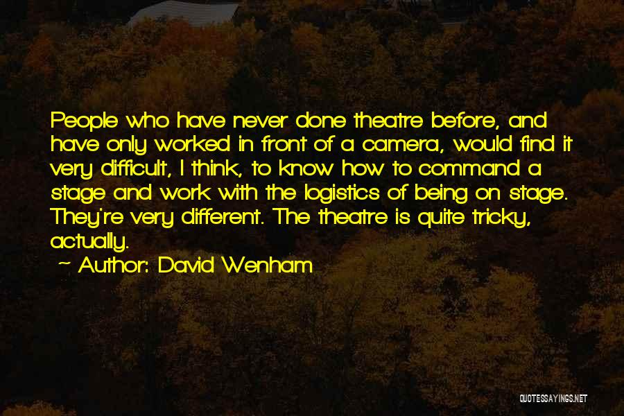 Theatre Stage Quotes By David Wenham