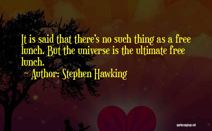There Is No Free Lunch Quotes By Stephen Hawking