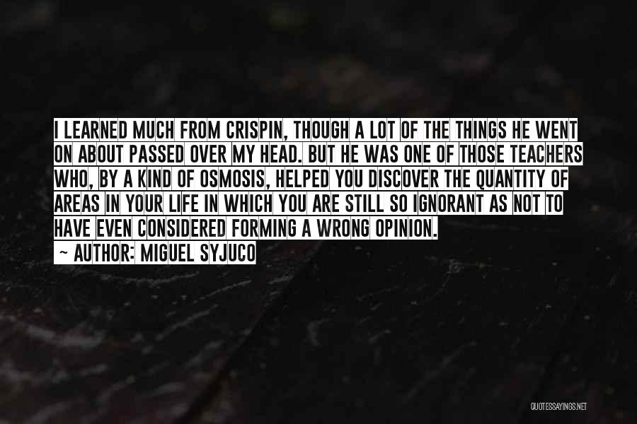 Things I Learned About Life Quotes By Miguel Syjuco