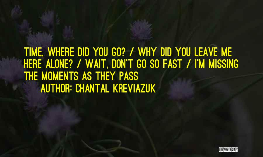 Time Go So Fast Quotes By Chantal Kreviazuk