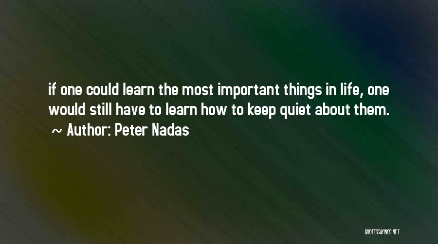 To Keep Quiet Quotes By Peter Nadas
