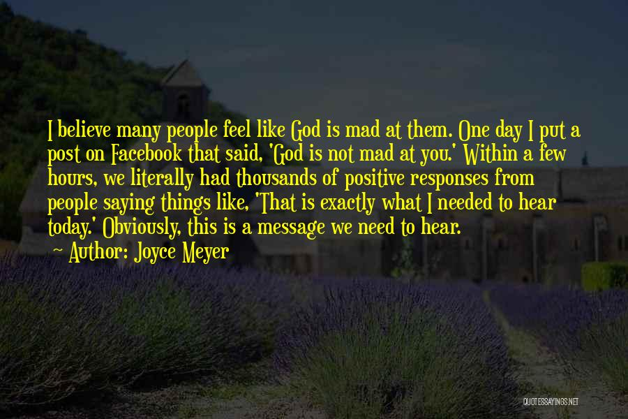 Today Facebook Quotes By Joyce Meyer
