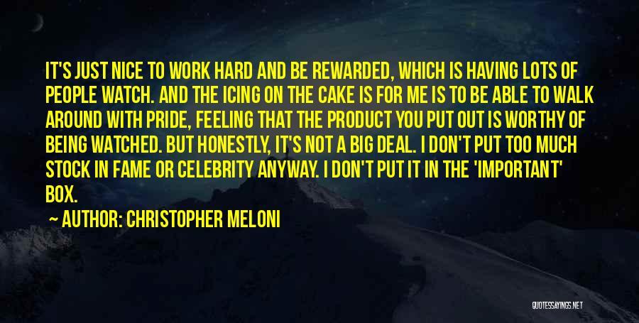 Too Much Hard Work Quotes By Christopher Meloni