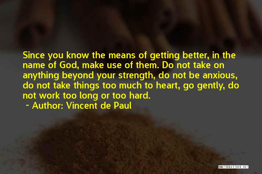 Too Much Hard Work Quotes By Vincent De Paul
