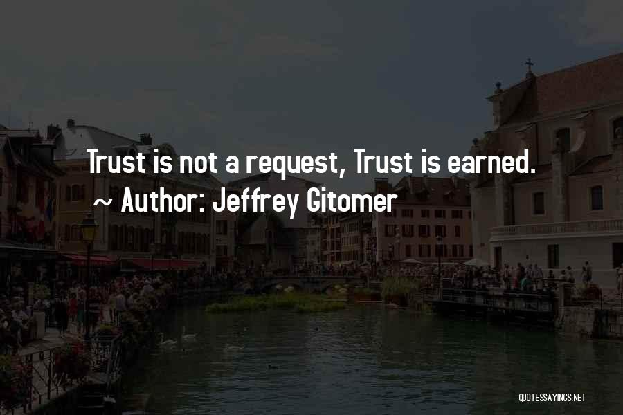 Trust Has To Be Earned Quotes By Jeffrey Gitomer