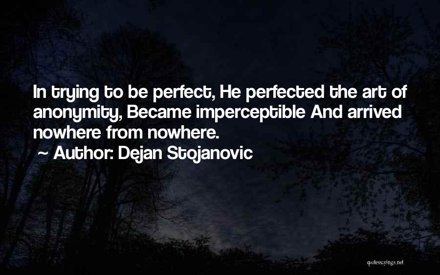 Trying To Be Perfect Quotes By Dejan Stojanovic