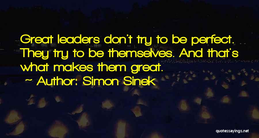 Trying To Be Perfect Quotes By Simon Sinek