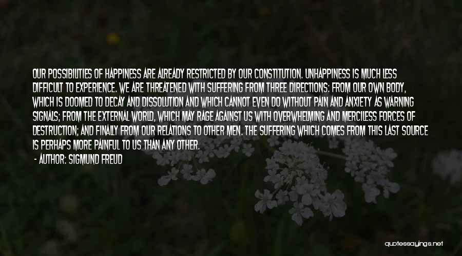 Unhappiness And Pain Quotes By Sigmund Freud