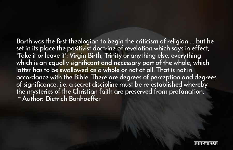 Virgin Birth Bible Quotes By Dietrich Bonhoeffer