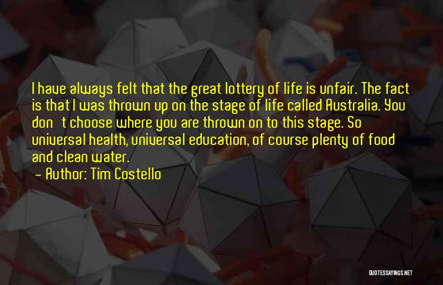 Water And Health Quotes By Tim Costello