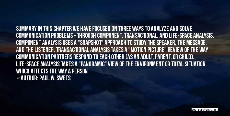 Ways To Analyze Quotes By Paul W. Swets