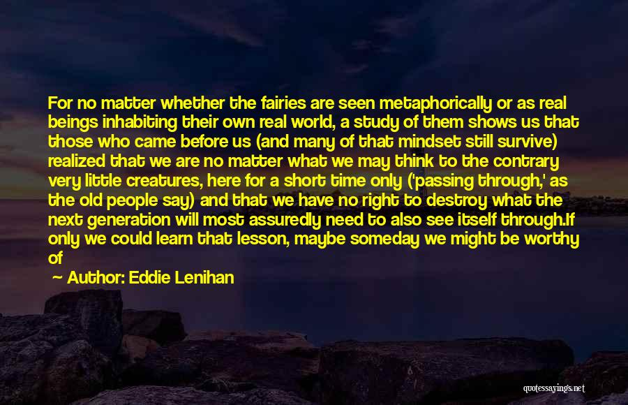 We Are Here To Learn Quotes By Eddie Lenihan