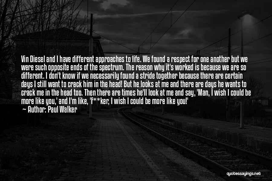 We Are Too Different Quotes By Paul Walker