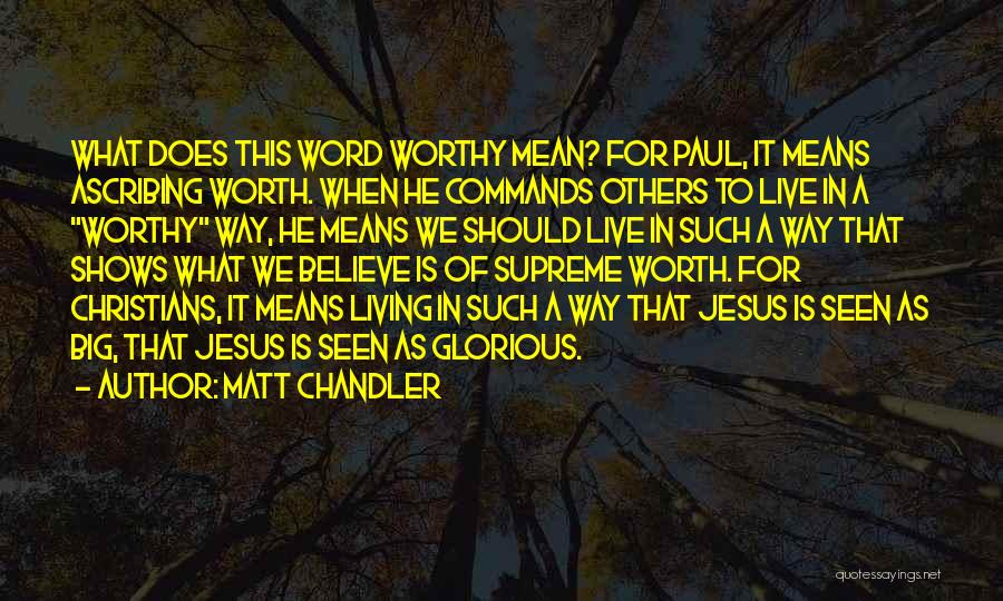 We Live For Others Quotes By Matt Chandler