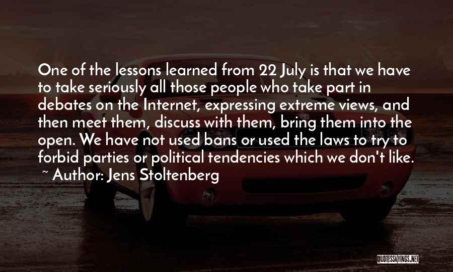 We Meet To Part Quotes By Jens Stoltenberg