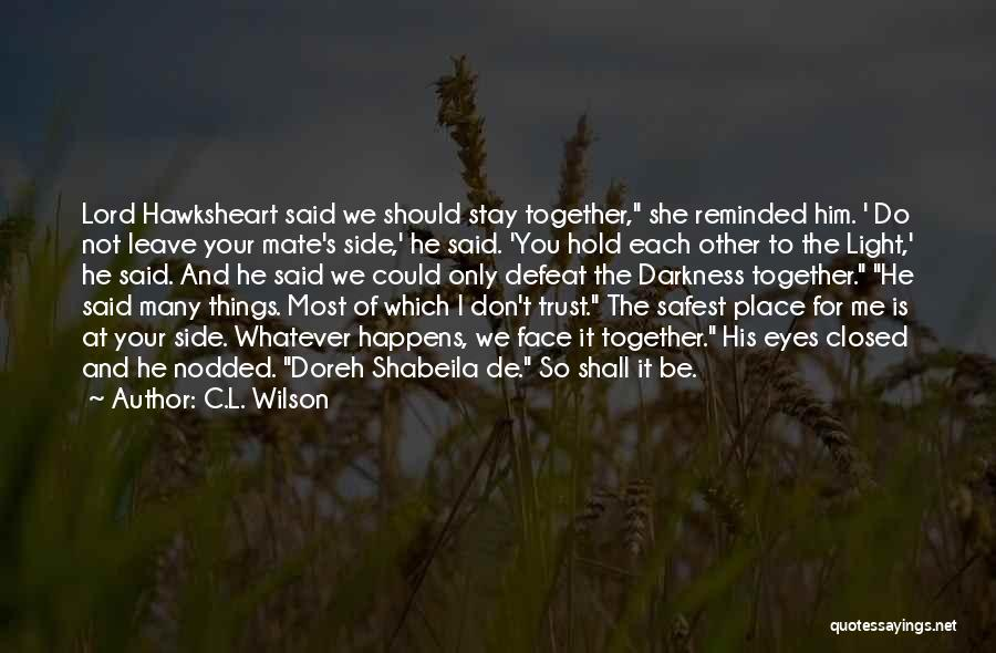 We Should Be Together Quotes By C.L. Wilson