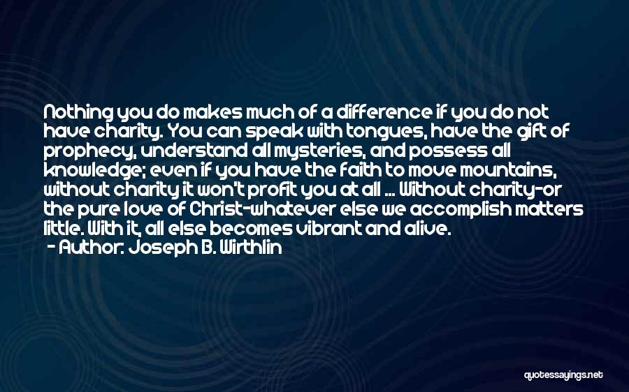 When You Love Someone Nothing Else Matters Quotes By Joseph B. Wirthlin
