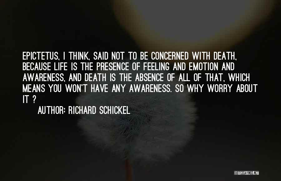Why Not To Worry Quotes By Richard Schickel
