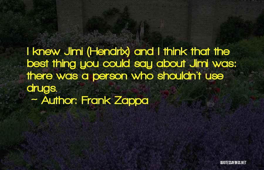 Why You Shouldn't Do Drugs Quotes By Frank Zappa