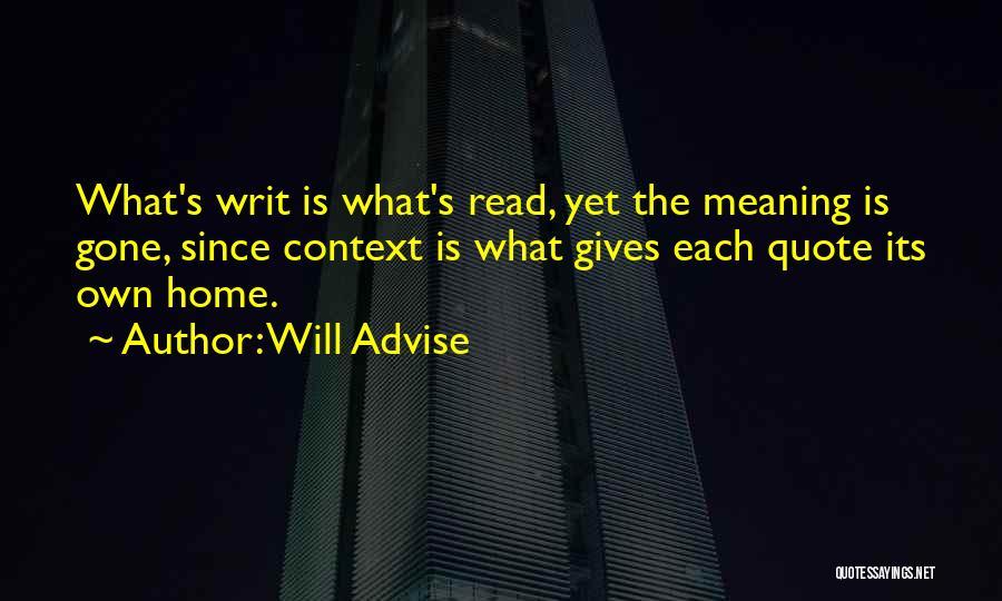 Will Advise Quotes 441895