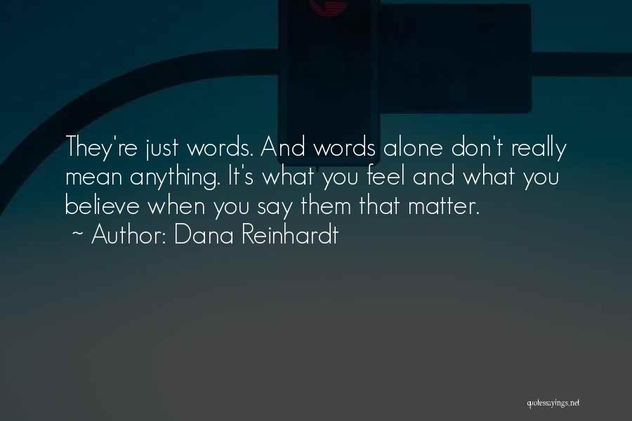 Words Don Mean Anything Quotes By Dana Reinhardt