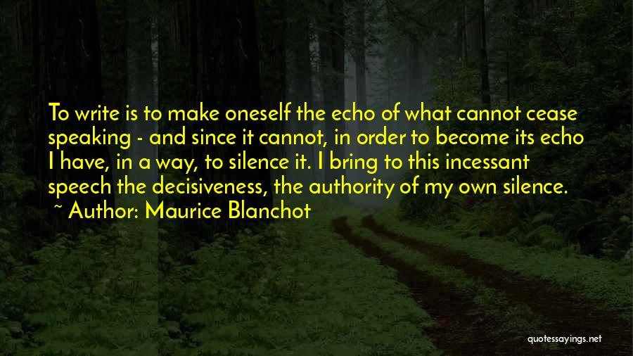 Writing And Speaking Quotes By Maurice Blanchot