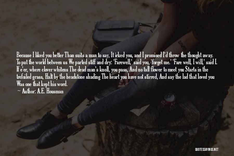 You Meet Me Quotes By A.E. Housman