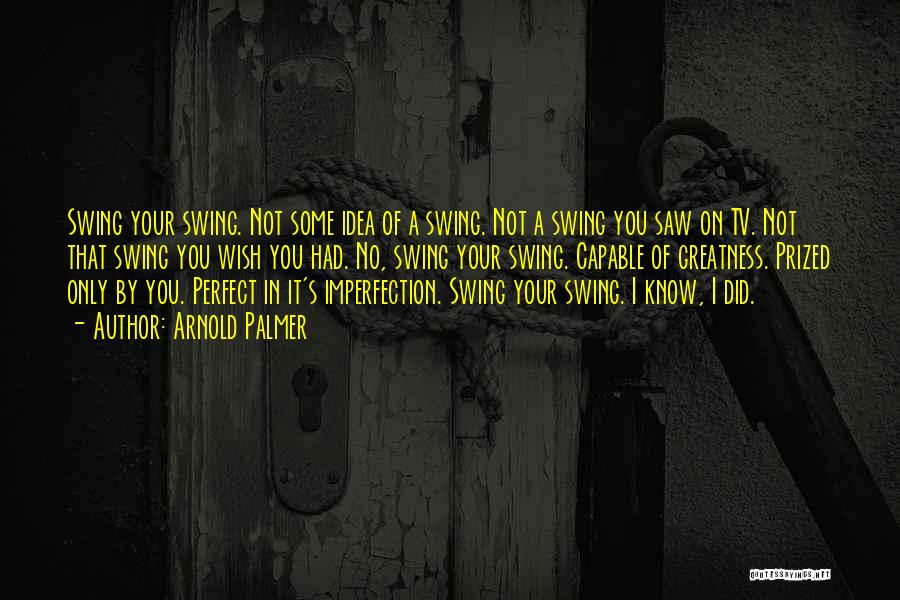 You Not Perfect Quotes By Arnold Palmer