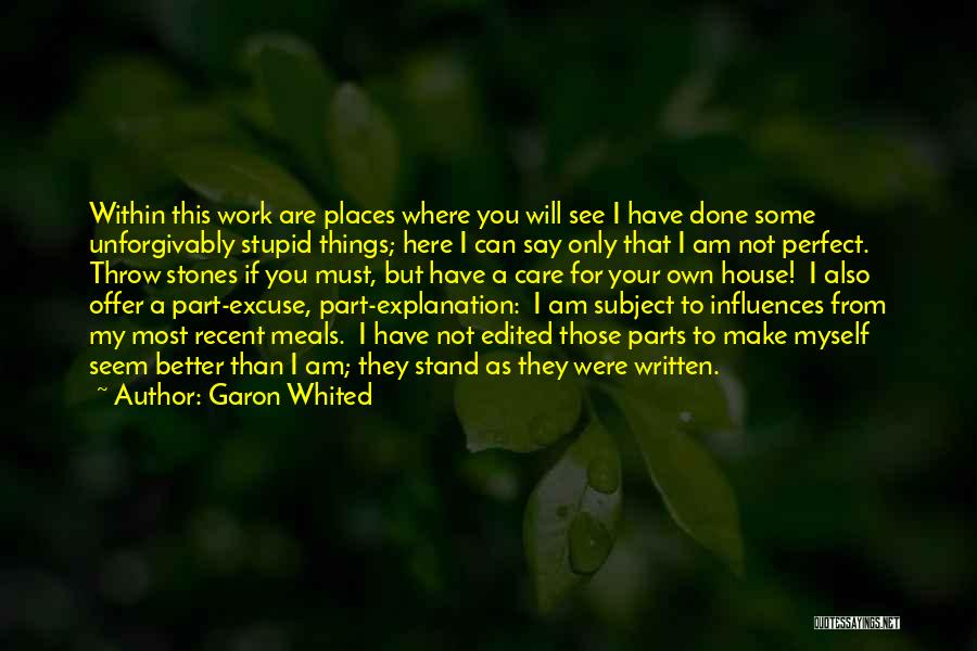 You Not Perfect Quotes By Garon Whited